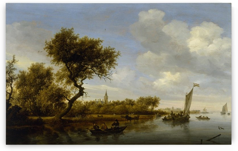 River Landscape with a Church in the Distance by Salomon van Ruysdael
