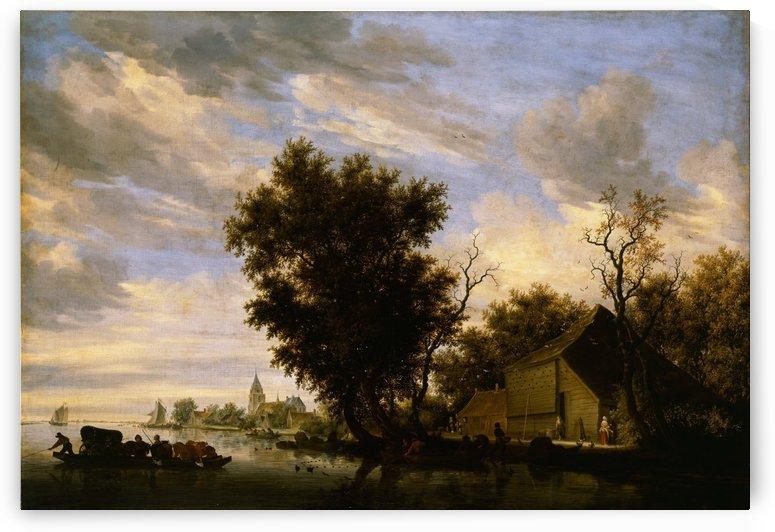 River scene with ferry boat by Salomon van Ruysdael