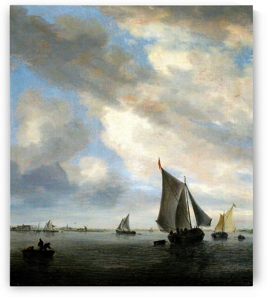 View of a Lake with Sailing Ships by Salomon van Ruysdael