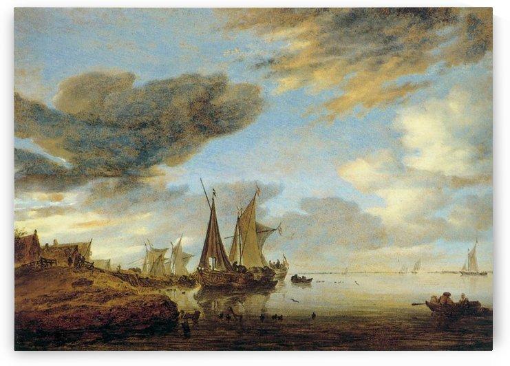 Sailing Boats near a Village by Salomon van Ruysdael