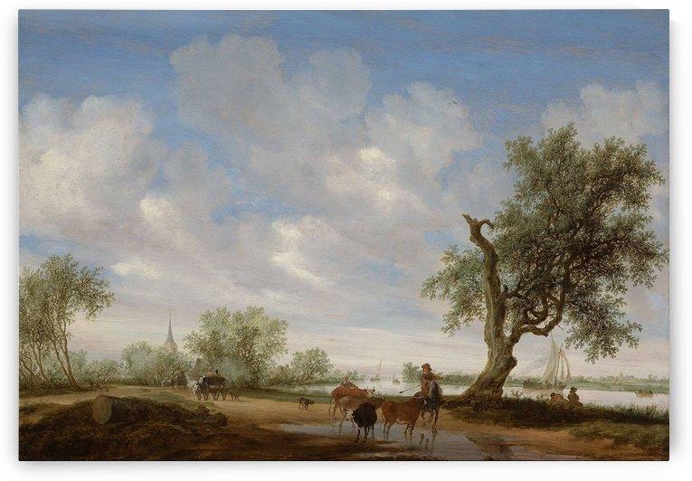 Landscape with a Road alongside a River by Salomon van Ruysdael