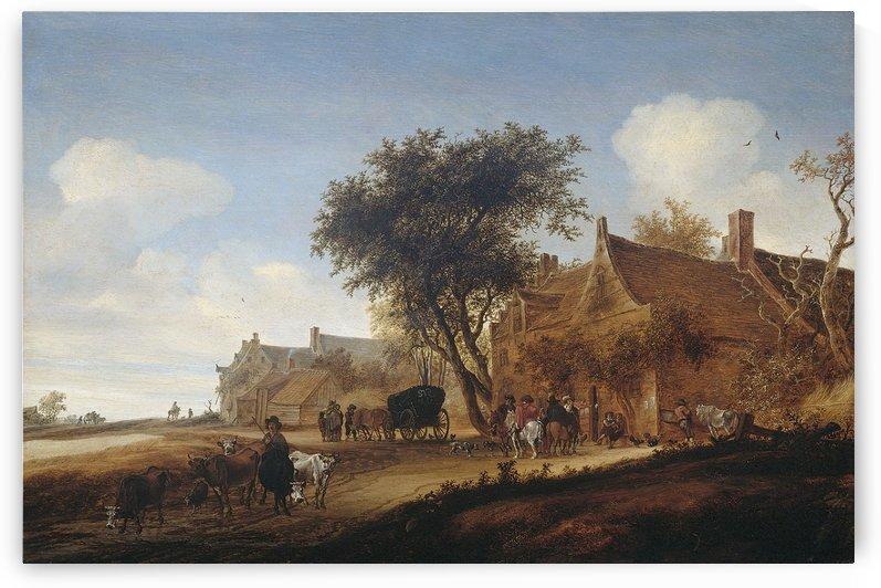 Dorpsherberg met reiswagen by Salomon van Ruysdael