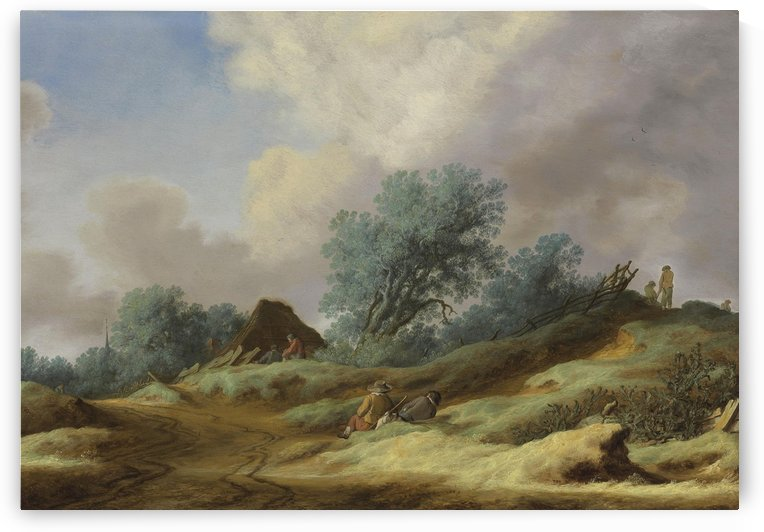 Landscape with peasants on a dune by Salomon van Ruysdael