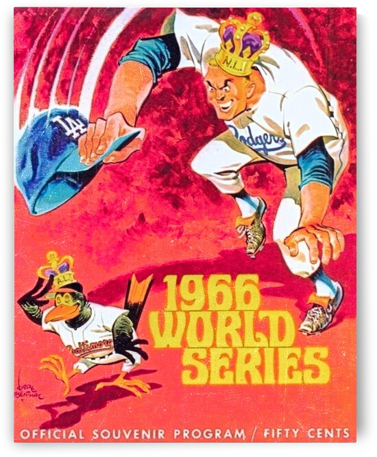 1966 World Series Dodgers vs. Orioles Program Cover Art Sale by Row One Brand