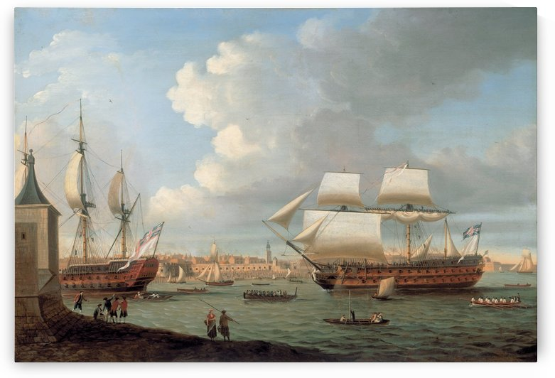 Foudroyant and Pegase entering Portsmouth Harbour by Dominic Serres