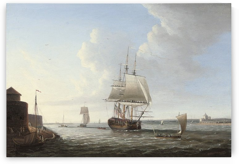 An English man-o war shortening sail entering Portsmouth by Dominic Serres