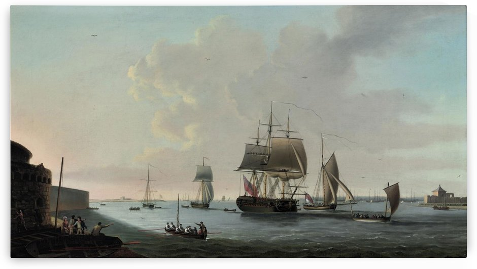 An English frigate running into Portsmouth harbour by Dominic Serres