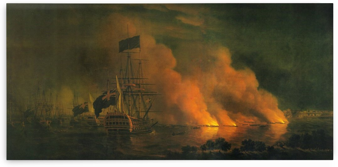French Fire Rafts Attacking the English Fleet off Quebec, 28 June 1759 by Dominic Serres