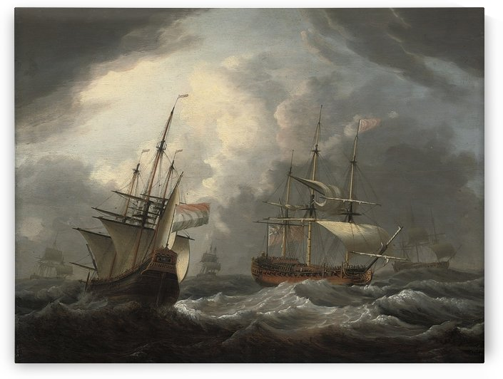 An English frigate passing a Dutch merchantman by Dominic Serres