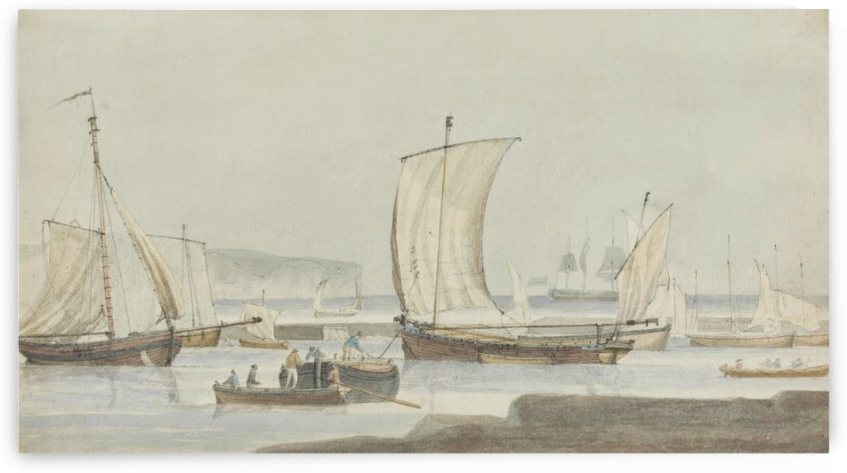 Harbor scene, 18th century by Dominic Serres