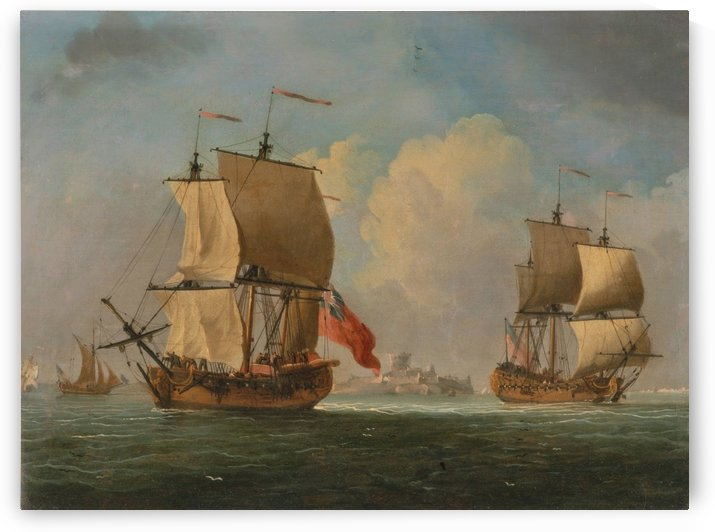 An English Sloop and a Frigate in a Light Breeze by Dominic Serres