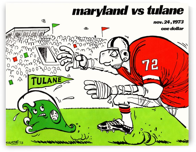 1973 Maryland vs. Tulane Football Program Cover Art by Row One Brand