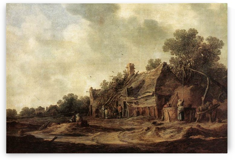 Peasant Huts with Sweep Well1633 by Jan van Goyen