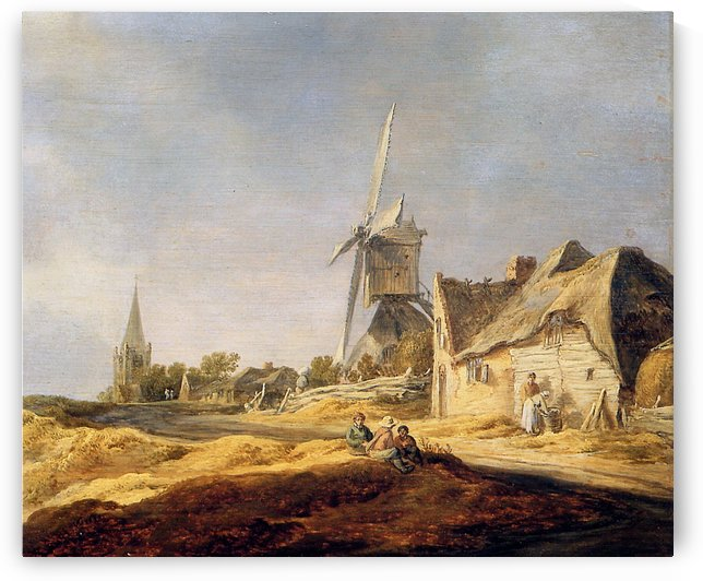 View on country road Sun by Jan van Goyen