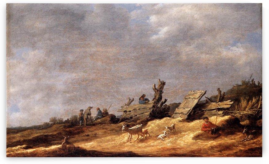 Dune Landscape with animals by Jan van Goyen