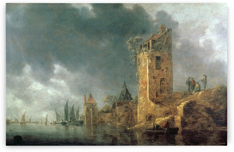 River Scene with Ruined Tower by Jan van Goyen