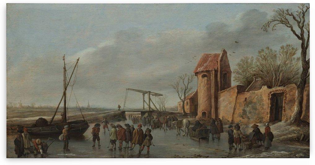 Peaseants by the river by Jan van Goyen