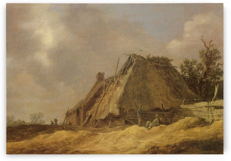 Farmhouses with peasants by Jan van Goyen