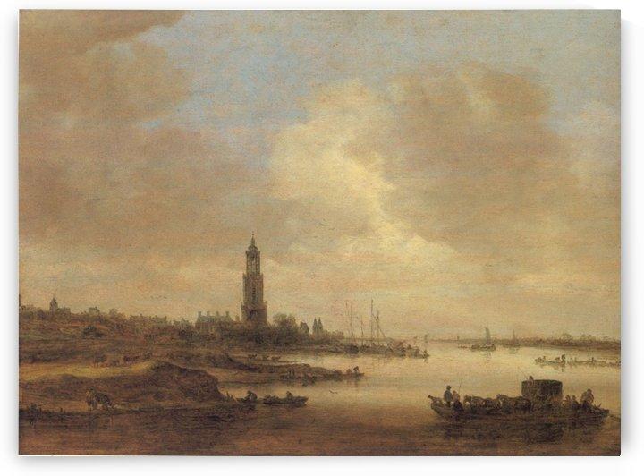 Gezicht op Rhenen by Jan van Goyen