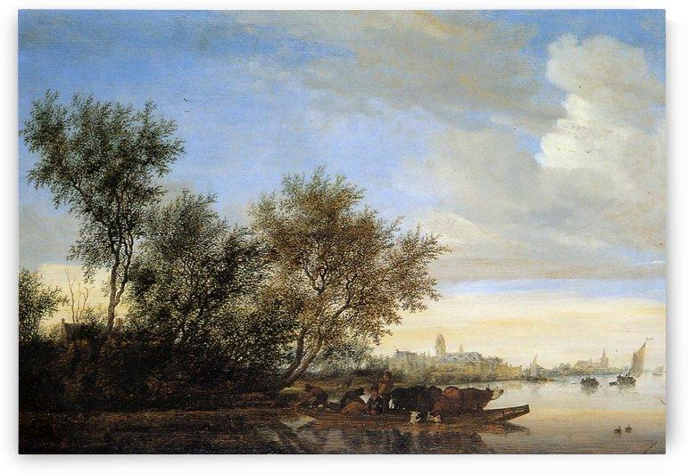 River landscape with ferry Sun by Jan van Goyen
