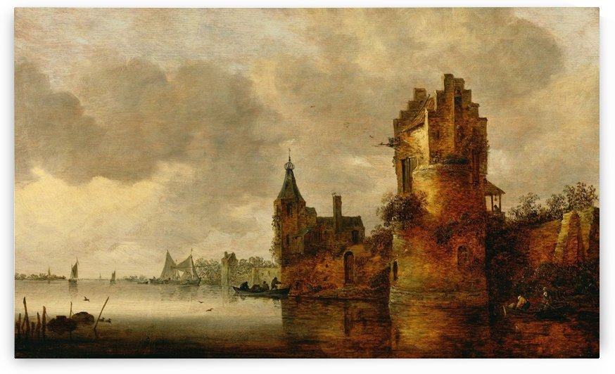 Estuary with Round Tower by Jan van Goyen