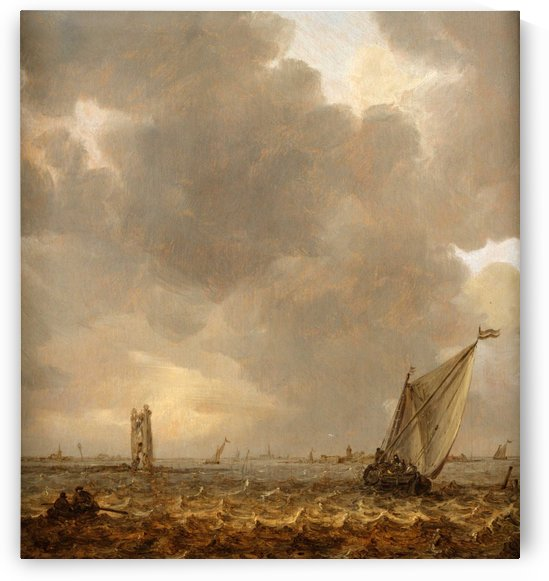 An Estuary with Row and Sail Boats by Jan van Goyen
