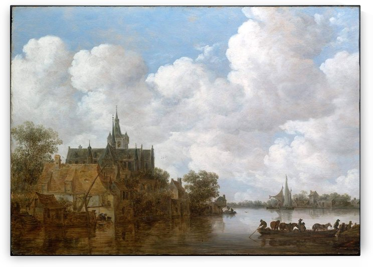 Landscape with a Ferry and a Church by Jan van Goyen
