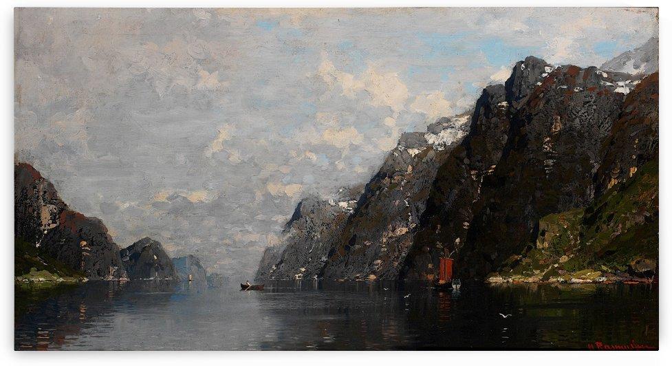 Norsk fjordlandskap by Georg Anton Rasmussen
