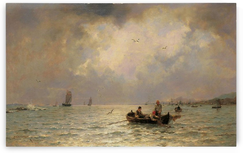 Fishermen on the sea by Georg Anton Rasmussen