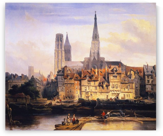 Paris Quay and the Cathedral at Rouen by Johannes Bosboom