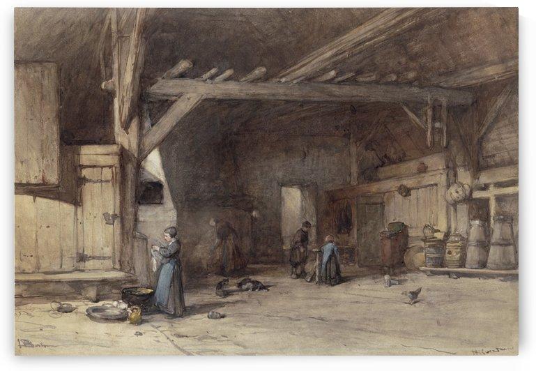 Interior of a farm near Hilversum by Johannes Bosboom