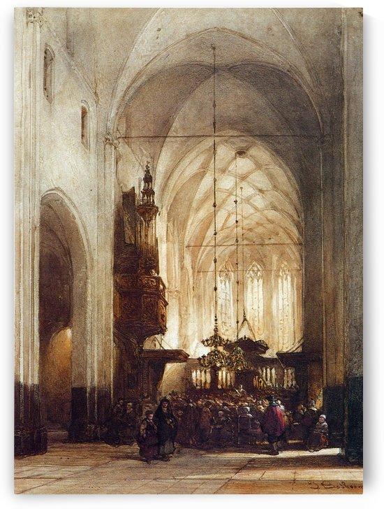 Church In Hattem Sun by Johannes Bosboom