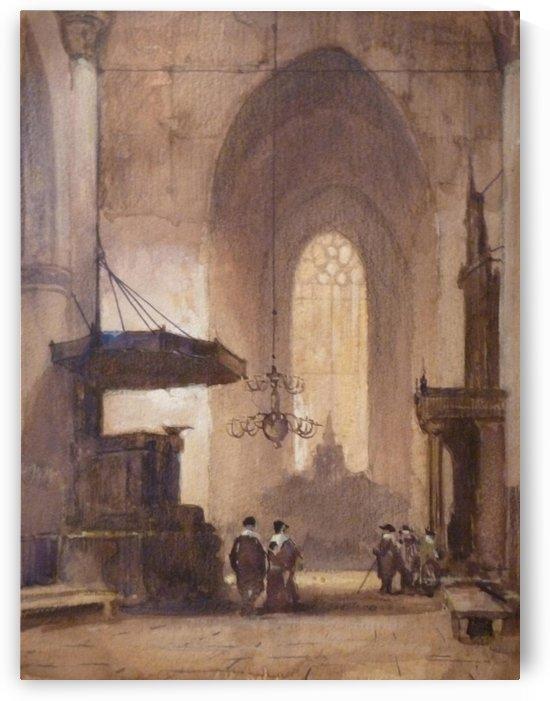 Kerkinterieur met figuren by Johannes Bosboom