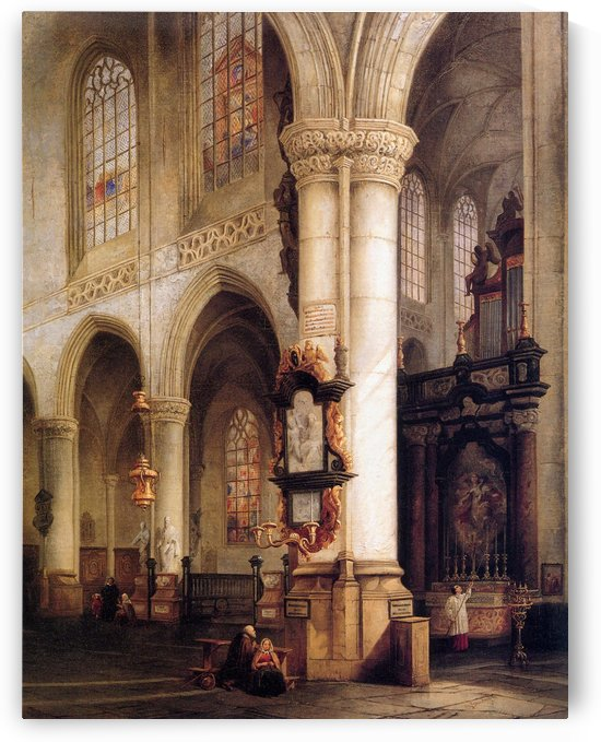 St Jacobskerk Antwerpen Sun by Johannes Bosboom