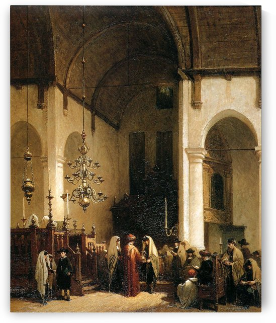 Portugese Synagoge In Amsterdam by Johannes Bosboom