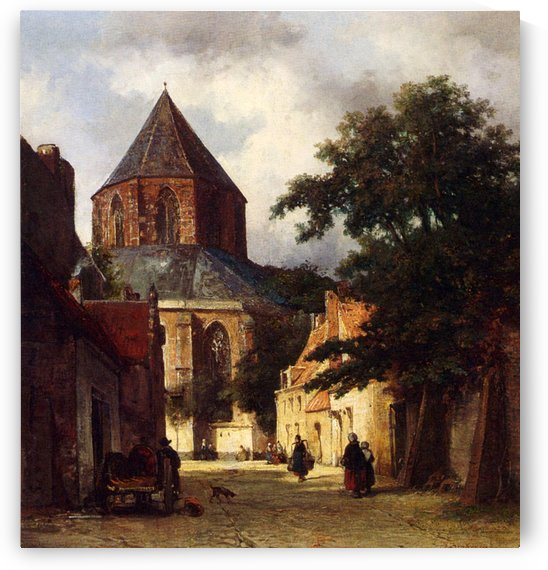 Street with Church by Johannes Bosboom