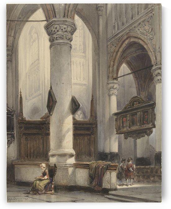 Interieur van de Nieuwe Kerk te Delft by Johannes Bosboom