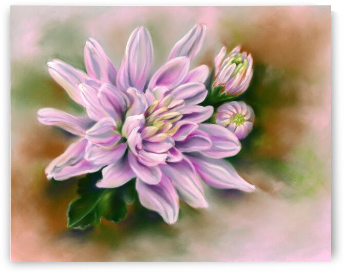 Pink Chrysanthemums with Leaf by MM Anderson
