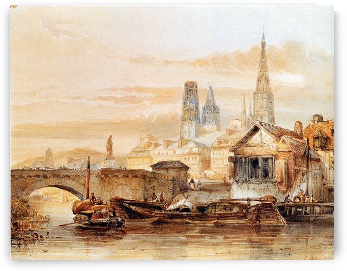 View On Rouen Sun by Johannes Bosboom