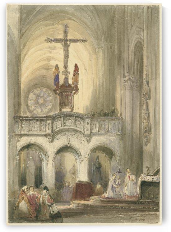 Kerkinterieur met mis by Johannes Bosboom