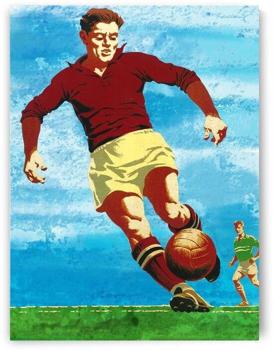 Vintage Soccer Art Blue Sky Futbol Action by Row One Brand