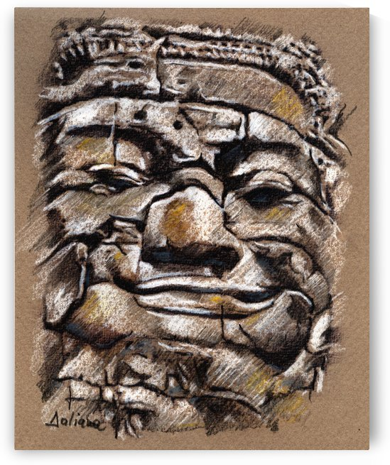 Angkor Wat Smiling Buddha drawing by Daliana Pacuraru
