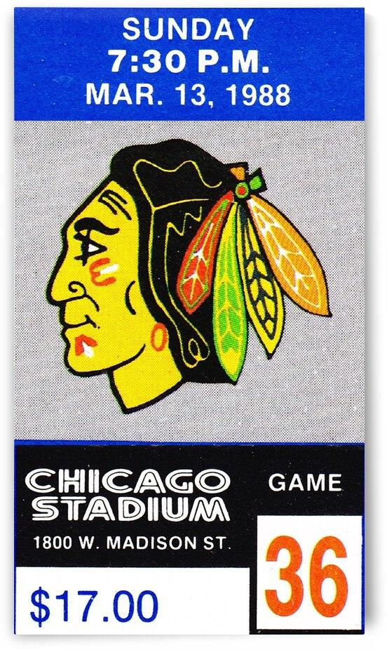 1988 Chicago Blackhawks Ticket Stub Art by Row One Brand