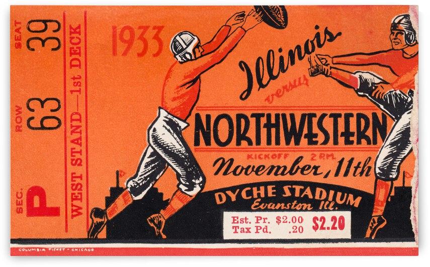 1933 Illinois vs. Northwestern Football Ticket Art by Row One Brand