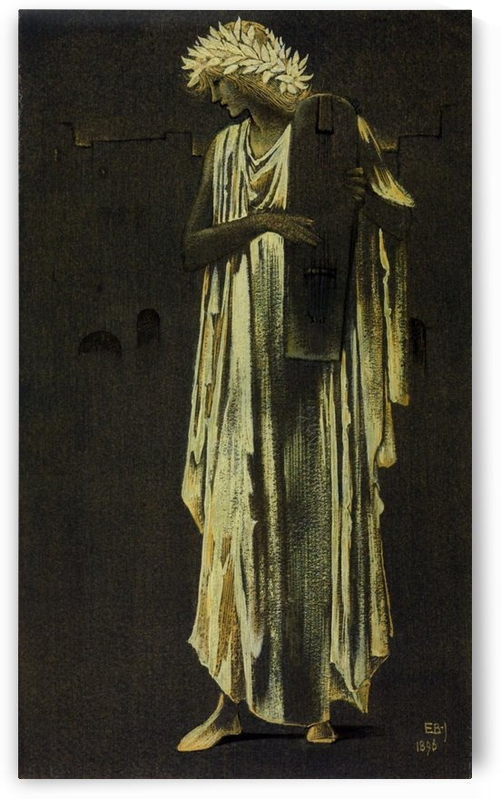 A Woman Playing a Cithara by Sir Edward Coley Burne-Jones