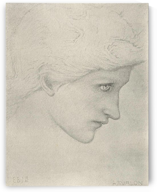 Study of head for Arthur In Avalon painting by Sir Edward Coley Burne-Jones