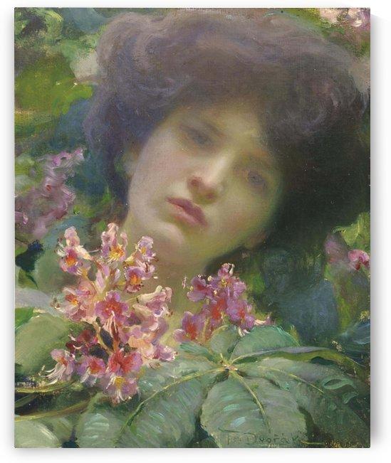 Portrait of young woman by Franz Dvorak