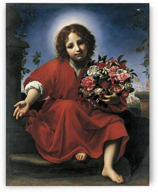 The Infant Christ with a Floral Wreath by Carlo Dolci