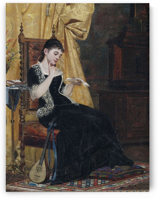 Junge Dame mit Brief by Carl Zewy