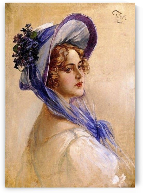 Youbg lady with purple hat by Carl Zewy